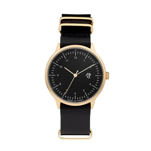 Chop Brand Sweden Brands - Harold Collection Gold Black Dial Black Army Leather Watch