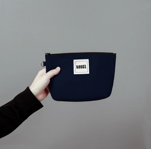 Bager Simple Plain Zipper Universal Bag / Navy