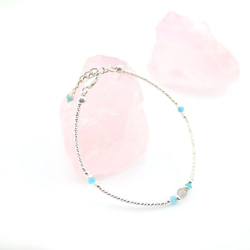 [ColorDay] Dazzling ~ labradorite + apatite and natural pearl ring flash silver bracelets <Labradorite / Labradouite + Apatite and Pearl Silver Bracelet>