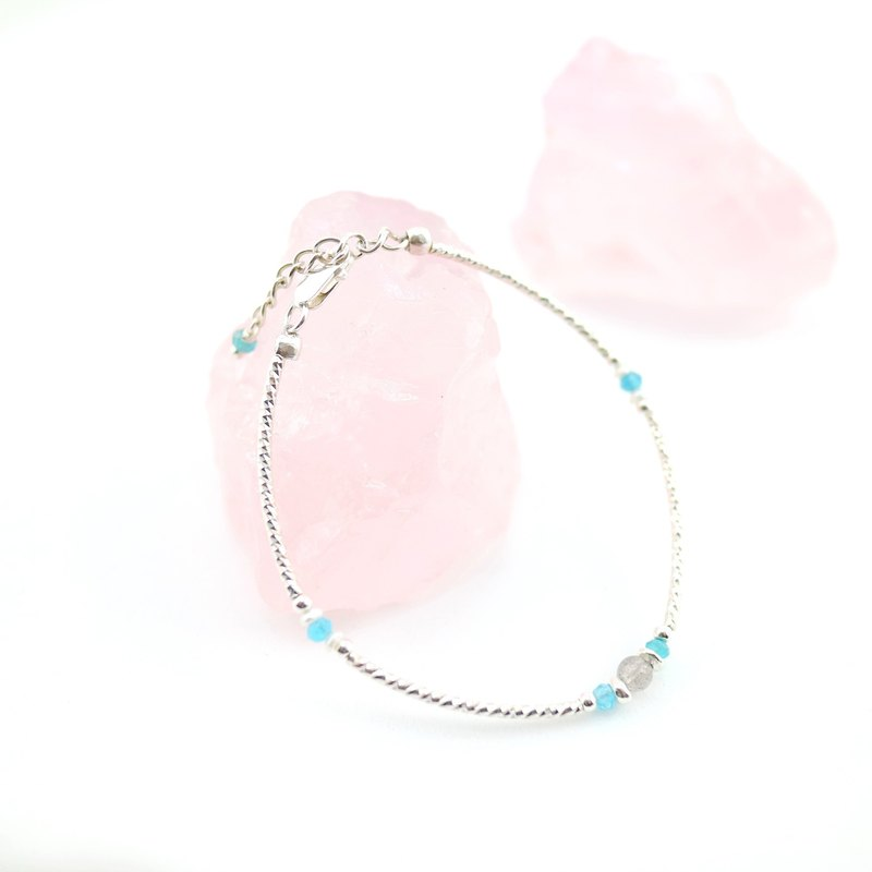【ColorDay】Dazzling~拉長石+磷灰石與天然珍珠閃環純銀手鍊〈Labradorite / Labradouite + Apatite and Pearl Silver Bracelet〉