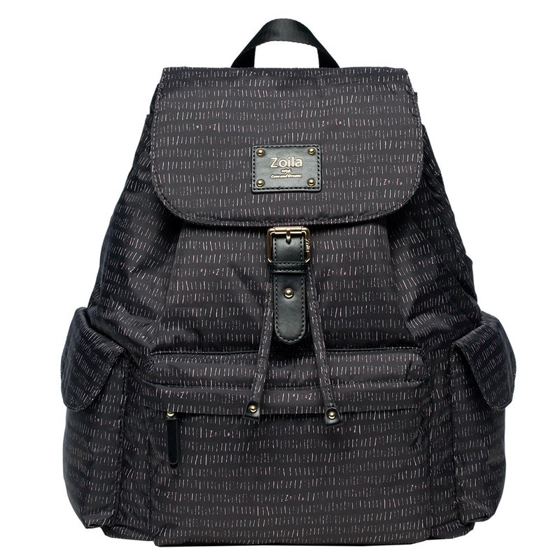 Both fashion and beauty _ line black style beam mouth backpack _ parenting bag _ mother bag (L)