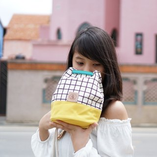 Mini Bucket Bag canvas fabric small size yellow colour and grid pattern
