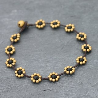 Black Stone Flower Anklets Brass Braided Woven