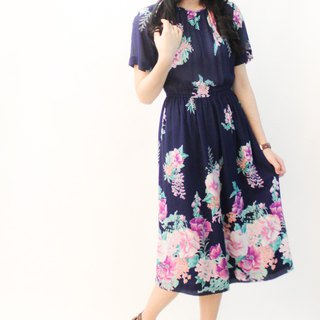 Vintage Japanese Elegant Romantic Flowers Dark Blue Short Sleeve Vintage Dress Vintage Dress