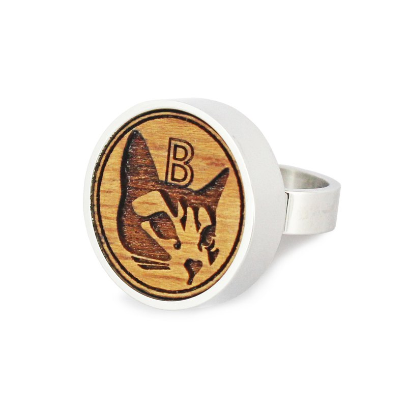 Bibi fun selection series-love the cute big head Bibi! Stainless steel log ring (free shipping by mail)