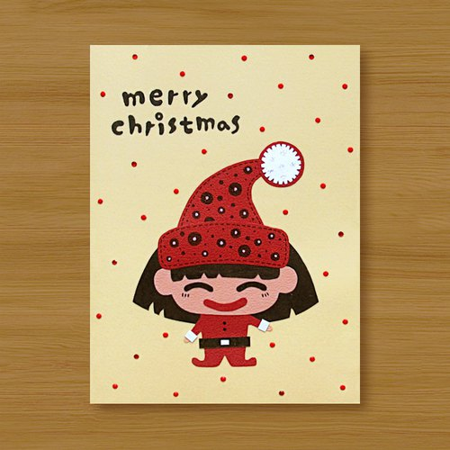 Handmade card _ Passing christmas greeting - christmas girl ..... christmas card, christmas