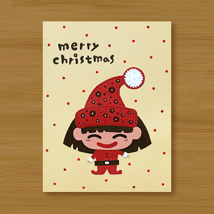 Handmade Cards _ Passing Christmas Wishes - Christmas Girl..... Christmas Card, Christmas