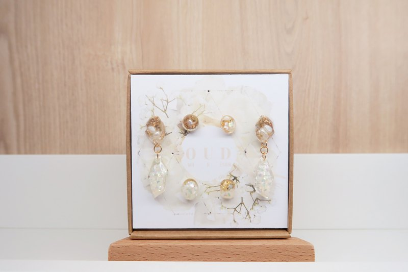 GOODY BAG-OUD(Free Delivery)-14K gf-Natural Pearls 3 Pairs Of Earrings /Clip-on