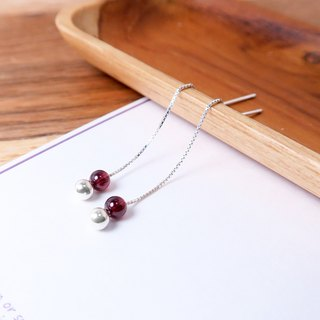 Roses Pomegranate Venice Long Chain Earrings (Small) - 925 Sterling Silver Natural Stone Earrings