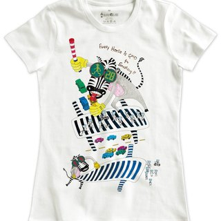 Classic white short-sleeved T-shirt _ Zebra looking for the way (Female M without inventory)