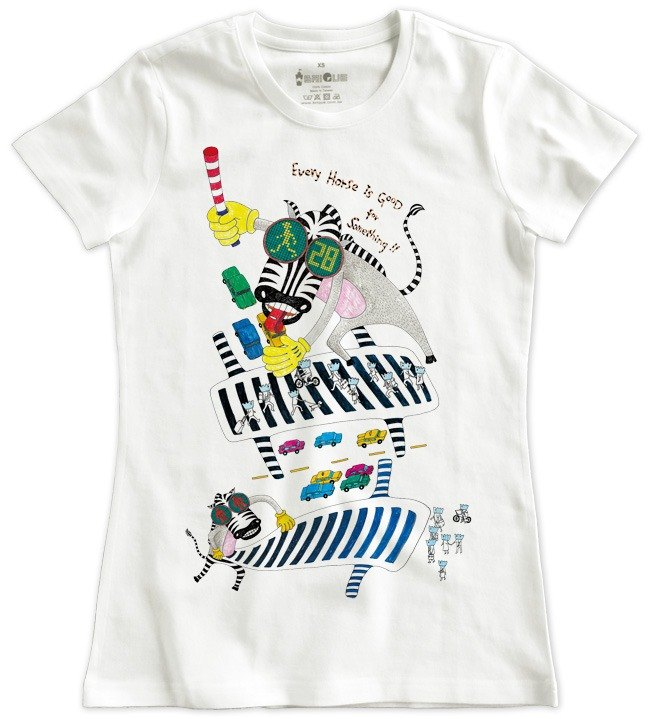 Classic white short-sleeved T-shirt _ Zebra looking for a road