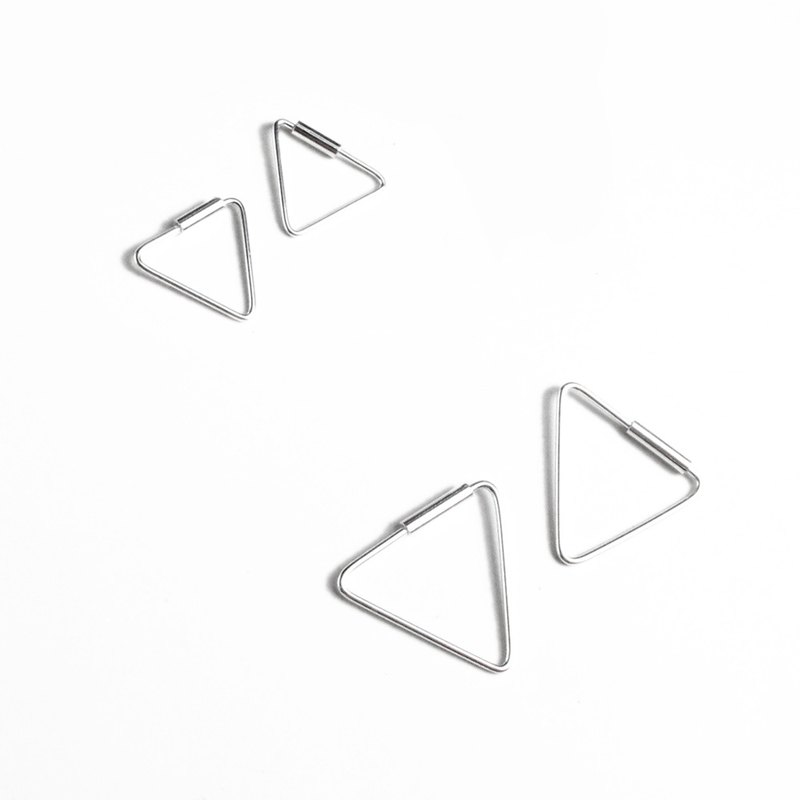 Geometric Geometry Square/Triangle sterling silver wire earrings set (2in1)