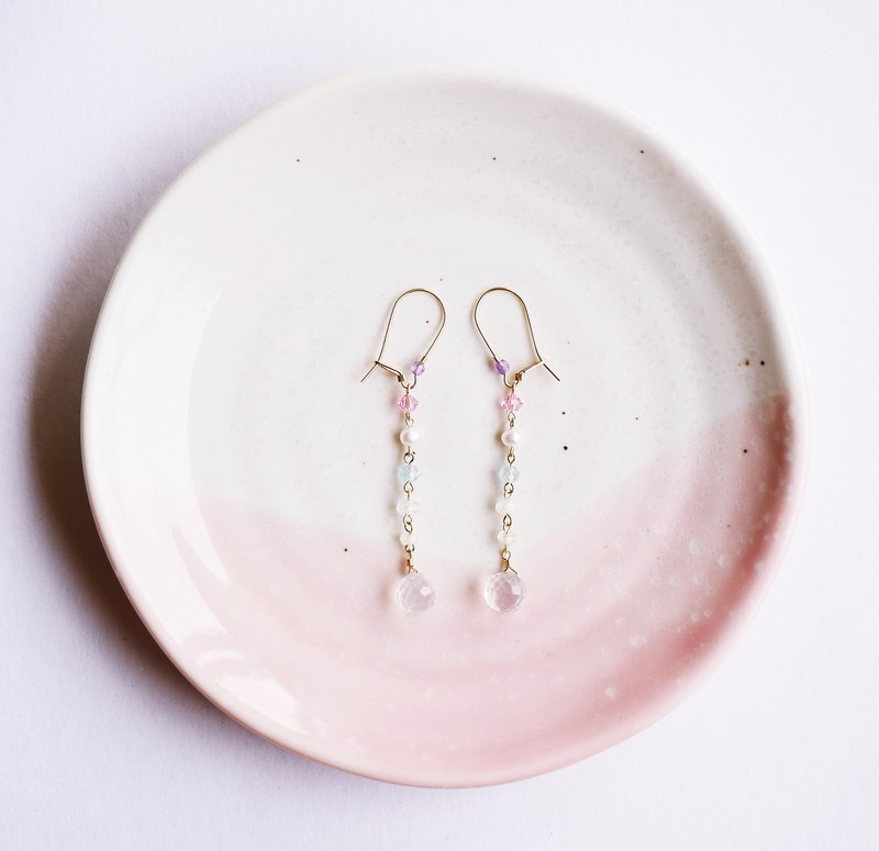 Spring の Snow Natural Stone 14K Milk Quartz Topaz Earrings Snow Elves Unleavened Freshness