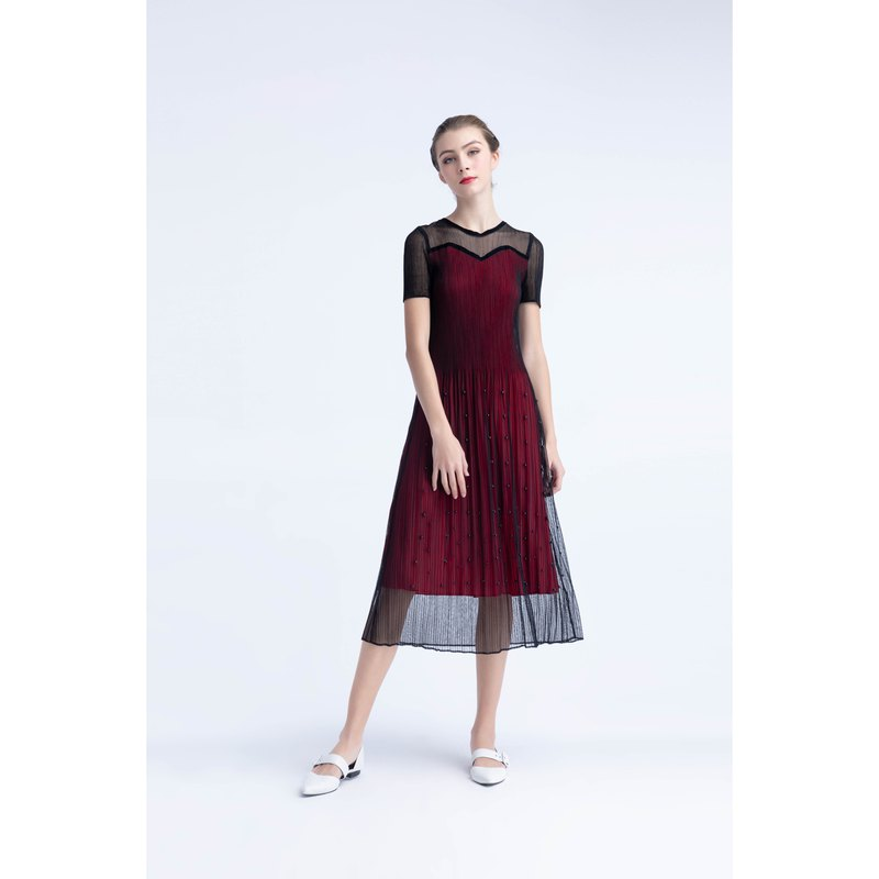 Translucent High Texture Folding Dinner Dress Pleating Dress