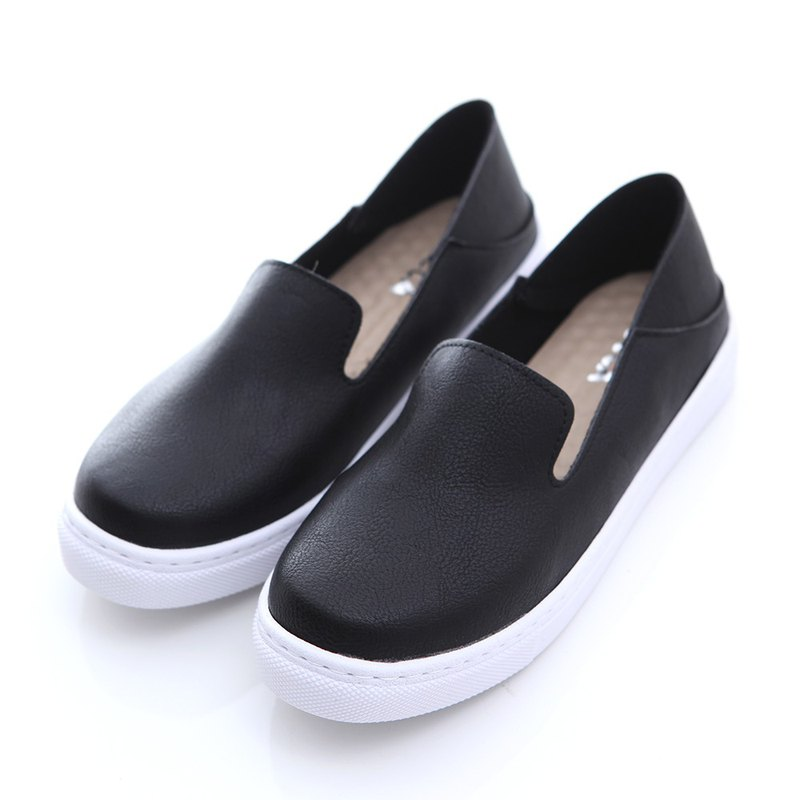 [ZUCCA] solid color leather platform shoes - black - z6631bk