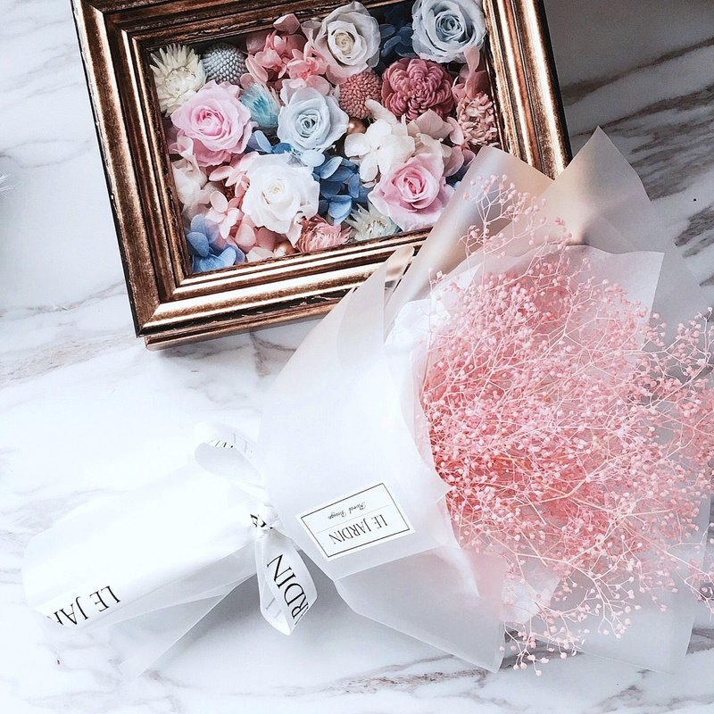 """Le Jardin"" pink stars immortalized Department of Korean Hand-made dried bouquet / Valentine's Day birthday gift"