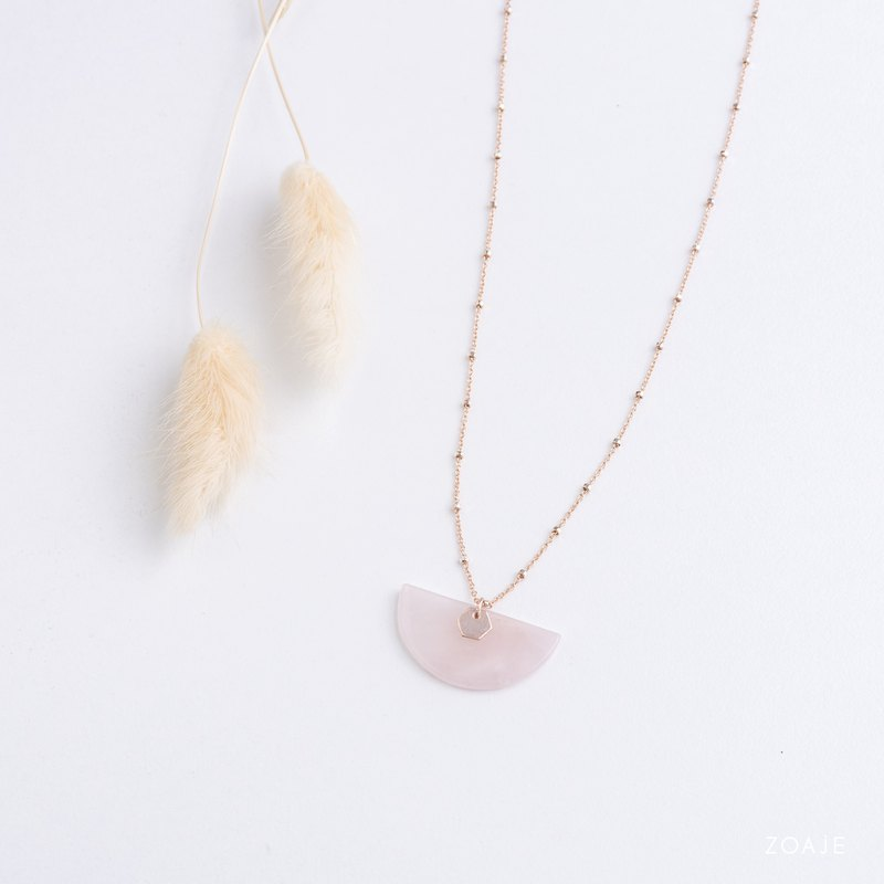 JAPAN Rose Quartz dainty necklace with bi-material 14k Rose gold filled and 925