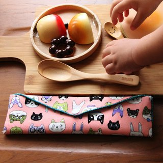 Wen Qing style green chopsticks ~ good mood powder storage package. Green chopsticks bag. Hand made cutlery bag. Exchange gift. Environmental protection. Cute animal