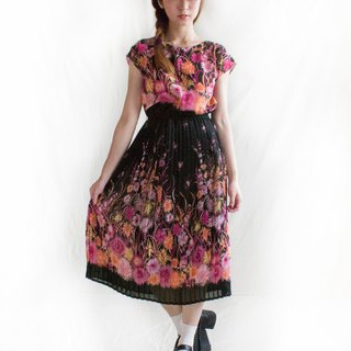 Black flower gradient half sleeve vintage dress