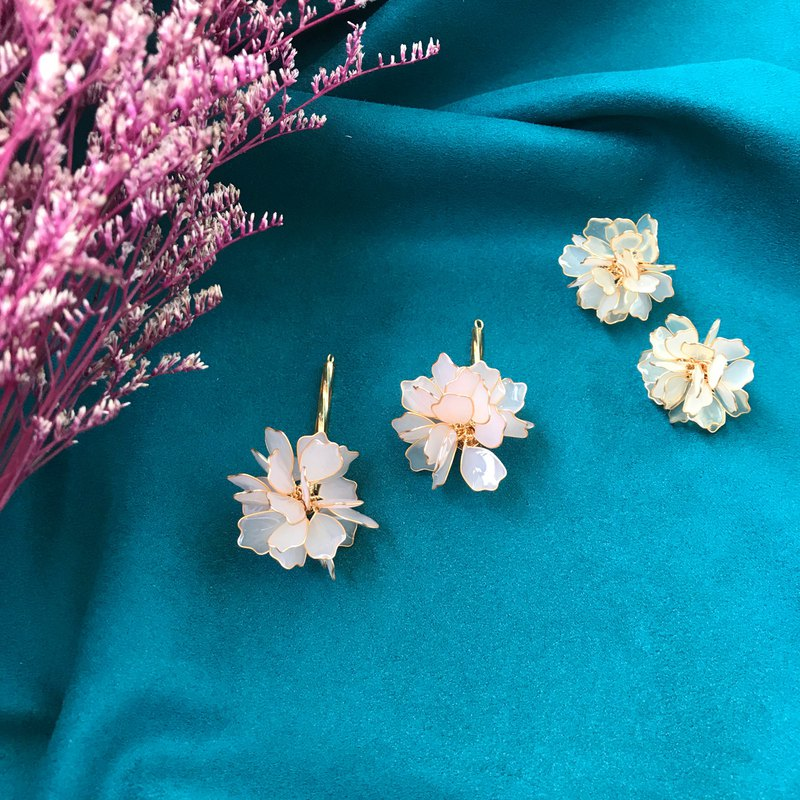 Rizhihua-One Pair-Sweet Flower Ball Series Color-changing Ear Earrings Resin Flower Ball Order Making