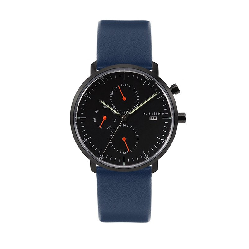 Minimal Watches : MONOCHROME CLASSIC - Limited edition/Leather   (Blue)