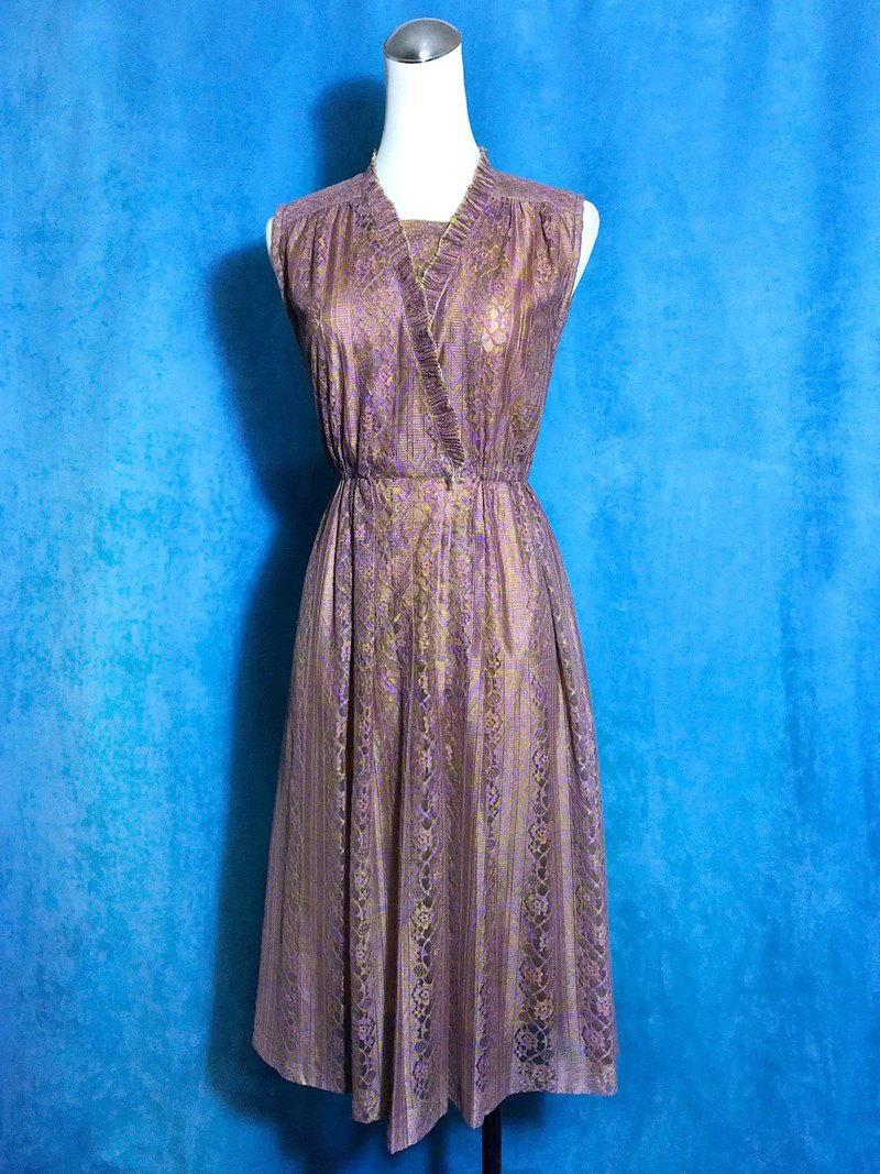 Lace flower sleeveless vintage dress / abroad brought back VINTAGE