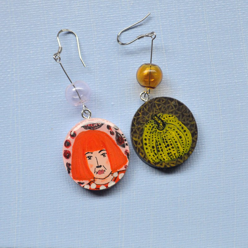 Non-materials series grassy Yayoi wave point pumpkin earrings hand-painted wooden resin seal