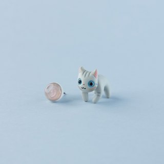 American Curl Cat - Polymer Clay Earrings, Handmade&Handpaited Catlover Gift