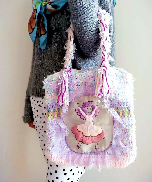 Hand - painted illustrations embroidered star catcher bag - pink