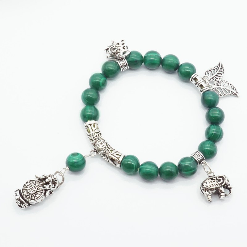 INFINITY Daqian Natural Malachite Dragon Turtle Like Energy Bracelet Gift (only one piece)