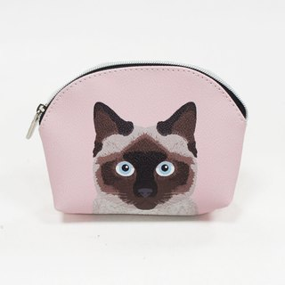 Siamese cat child shell zipper cosmetic bag / universal storage bag pink - love Shirley