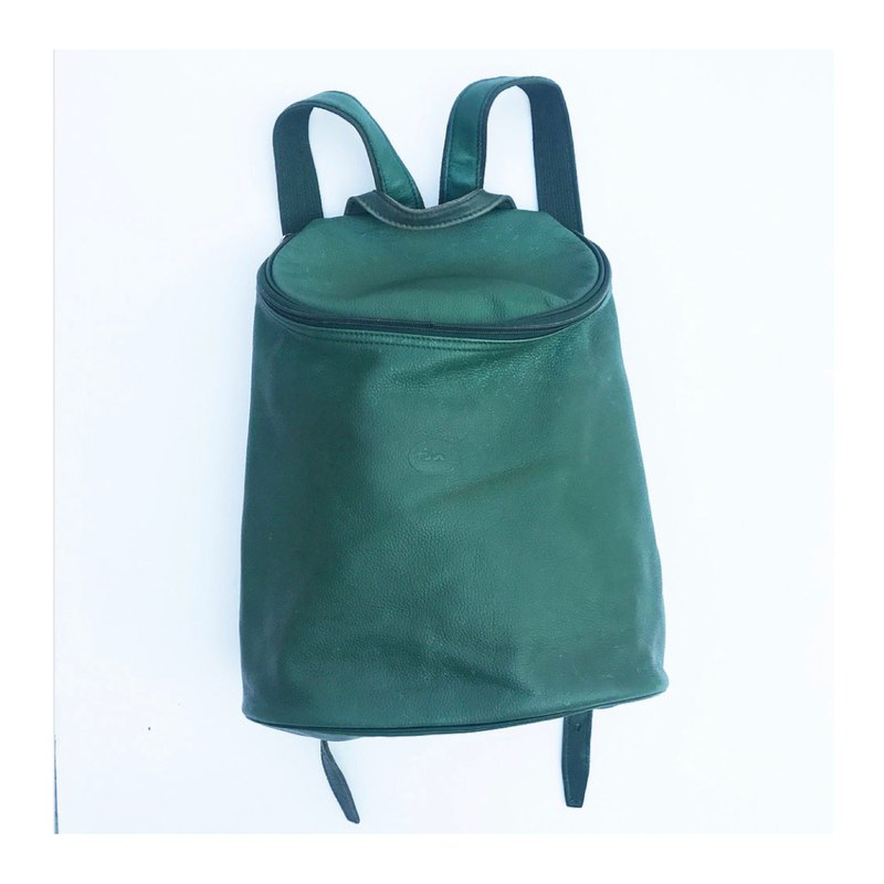 French old LONG CHAMP green leather backpack
