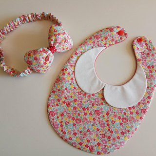 Red Flower Gift Moon Baby Bib + Baby Hair Bow Full Moon Gift