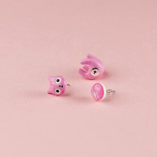 Pink Polymer Clay Earrings -  Spring Cat Earrings