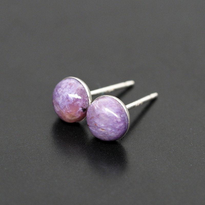 Violet Charoite 紫龍晶 Gemstone Stud Earrings, 925 Sterling Silver, 6mm Round