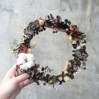Cotton Mini Rose Dry Eucalyptus Wreath
