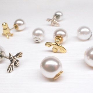 "Two hair silver ""imitation pearl ear buckle"" silver pair"