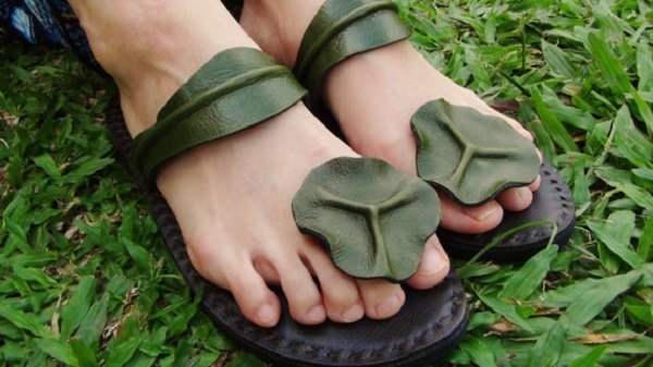 Women Leather Sandals, Men Leather Sandals  〚Lotus leaf〛