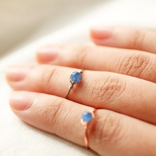 4mm blue crystal copper wire ring (titanium)