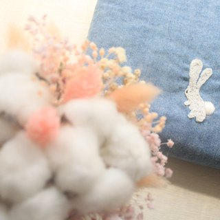 Rabbit eating fruit - forest island flower denim bag