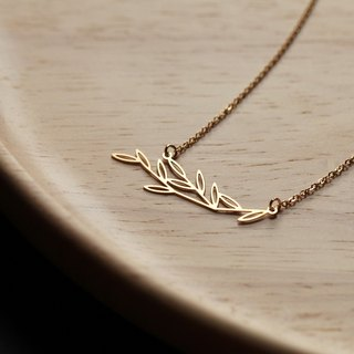 Gold Green Necklace Leafy Pendant-S (Gold)