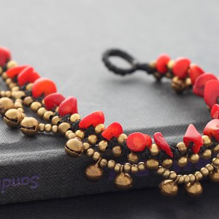 Red Stone Chandelier Raw Brass Bracelets Beaded Woven Braided Bracelets Gypsy