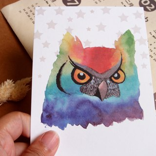 Watercolor rendering postcard - owl