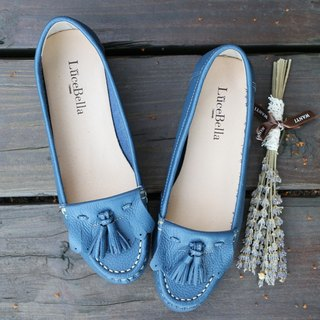 【First love】tassel flat shoes-dark blue-handmad shoes