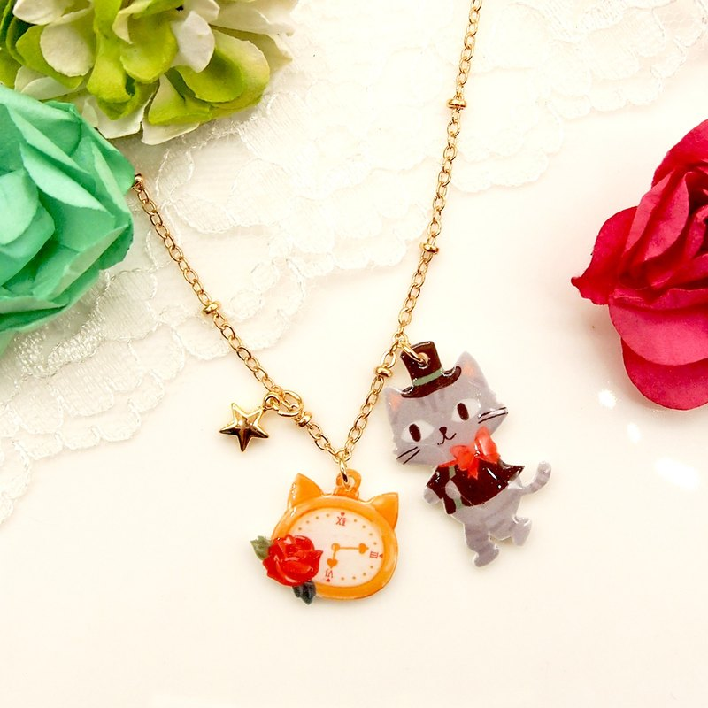 Catty in Wonderland handmade grey cat with watch necklace