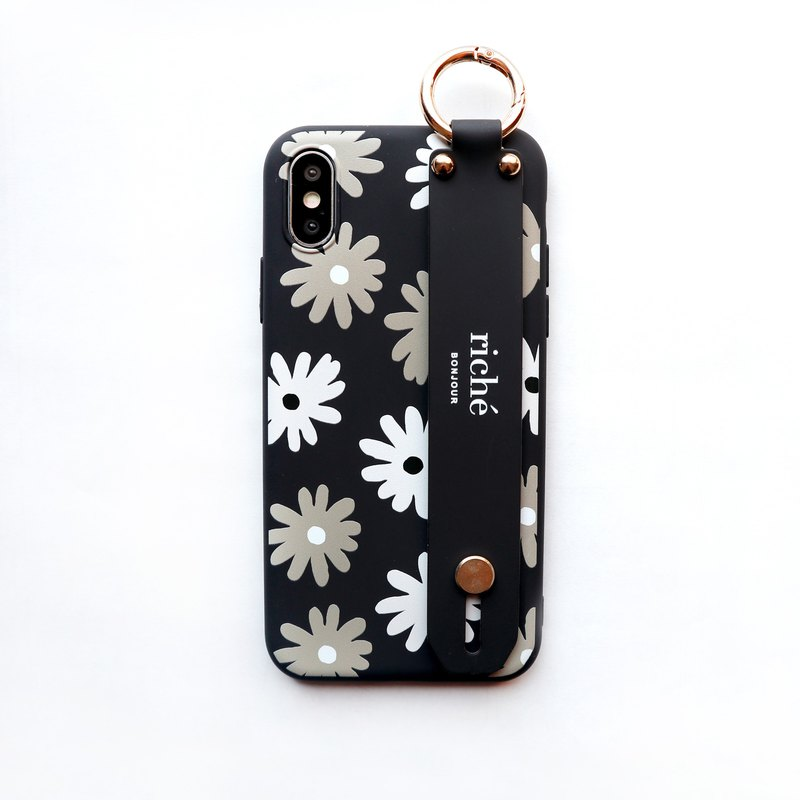 Dark night daisy hand with phone case