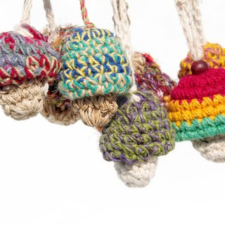 Valentine's Day gift hand-woven cotton keychain / key ring style Big House - the forest department cotton sari line mushrooms (seven to pick)