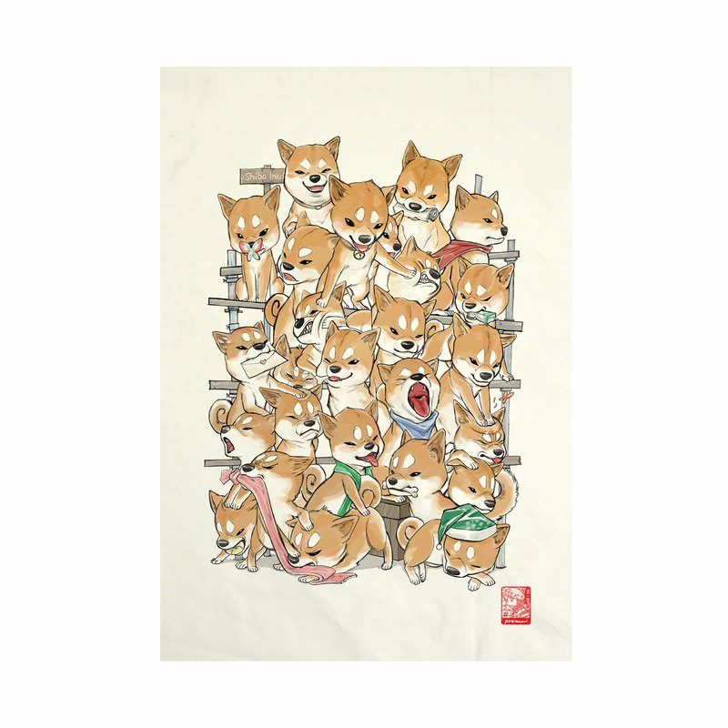 Shiba family Fabric Art  Canvas No frame