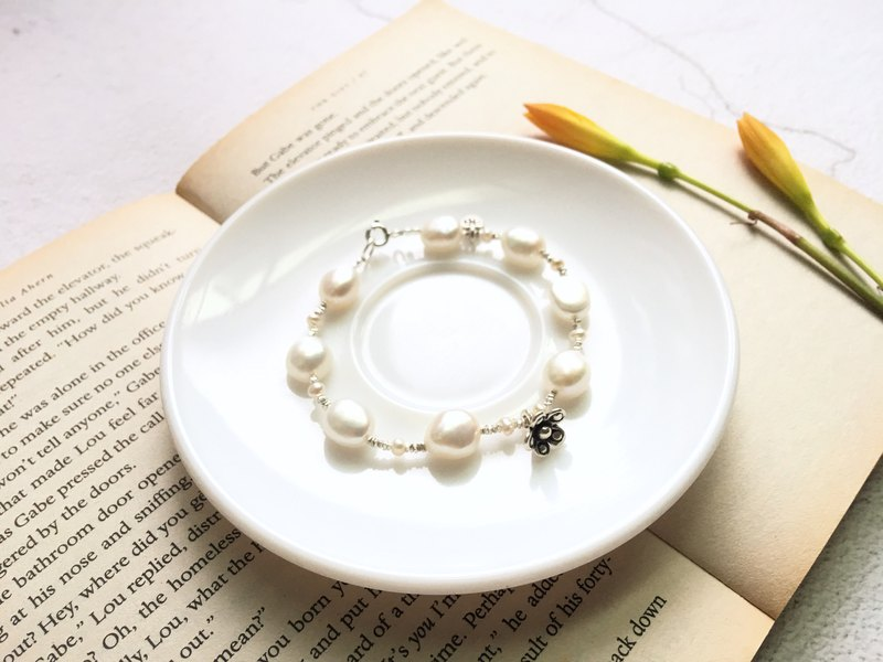 Ops pearl handmade nature Unique Silver gift bracelet