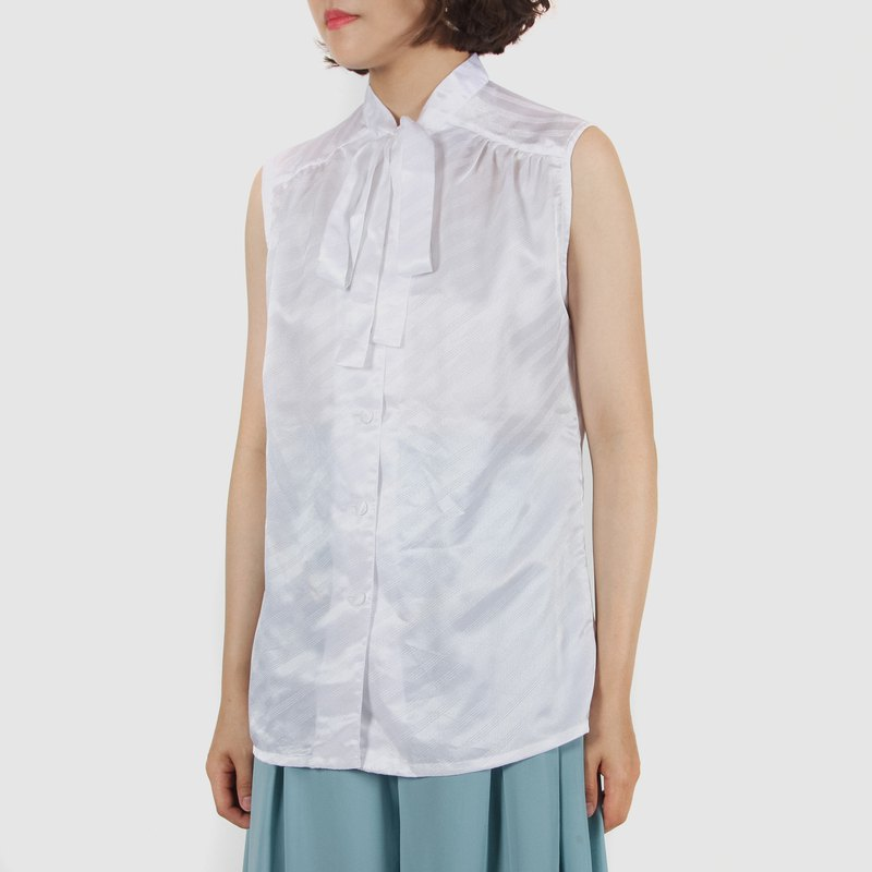 [Egg Plant Vintage] Clear Twill Satin Sleeveless Vintage Shirt